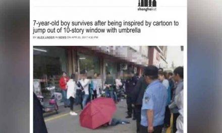 Kanak-kanak tiru aksi kartun terjun guna payung dari tingkat 10